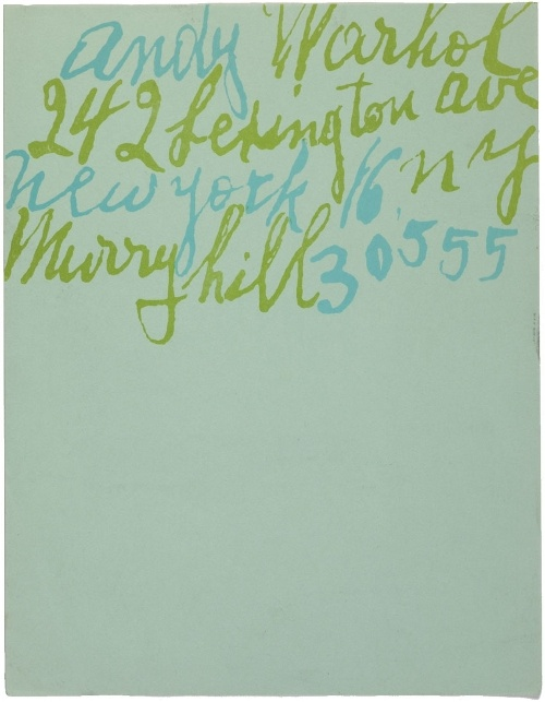 Andy Warhol letterhead, with lettering by Warhol's mother, via Pinterest