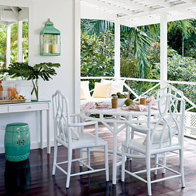 Outdoor dining by Meg Braff, Round Hill Resort, photo: J. Savage Gibson, Coastal Living