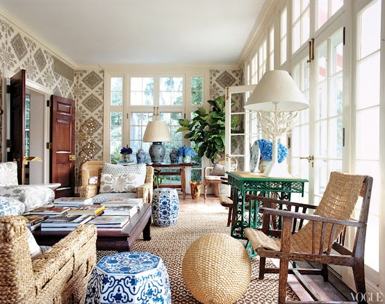 Tory Burch, Hamptons Home, via Vogue.com