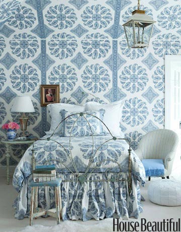 "Peter Dunham ""Samarkand Blue on White"" walls, bedding"